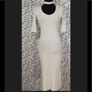 Topshop Black/White Stripe Maxi Dress NWT
